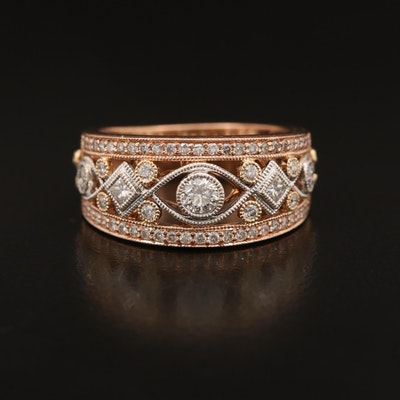 14K Diamond Openwork Tapered Band Including Rose Gold