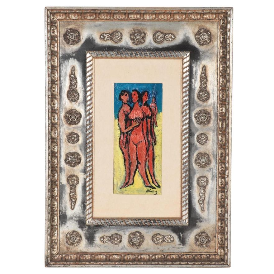 Frank Kleinholz Oil Painting of Figural Nudes, Mid-20th Century