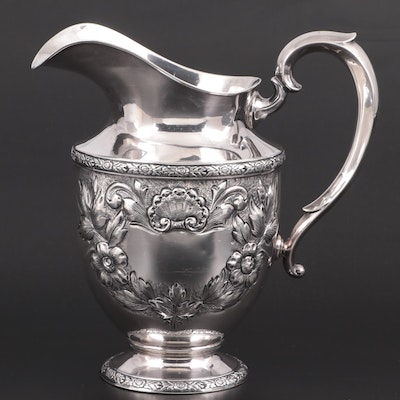 """Fisher """"Rose Bouquet"""" Hand-Chased Sterling Silver Pitcher, Mid to Late 20th C."""