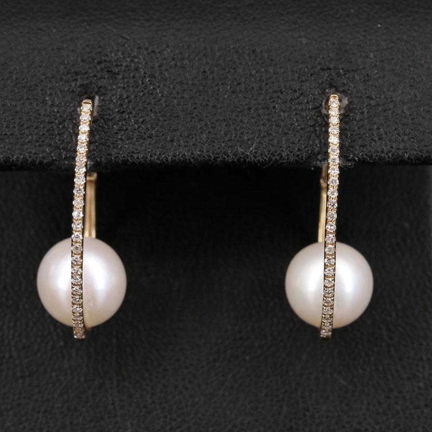 EFFY 14K Pearl and Diamond Hoop Earrings