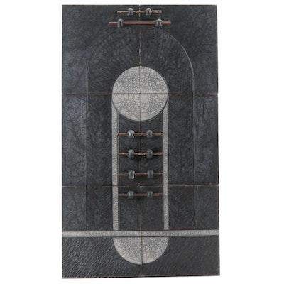 """Mike Bose Raku Fired Ceramic Tile Wall Art """"Ascension,"""" 2001"""