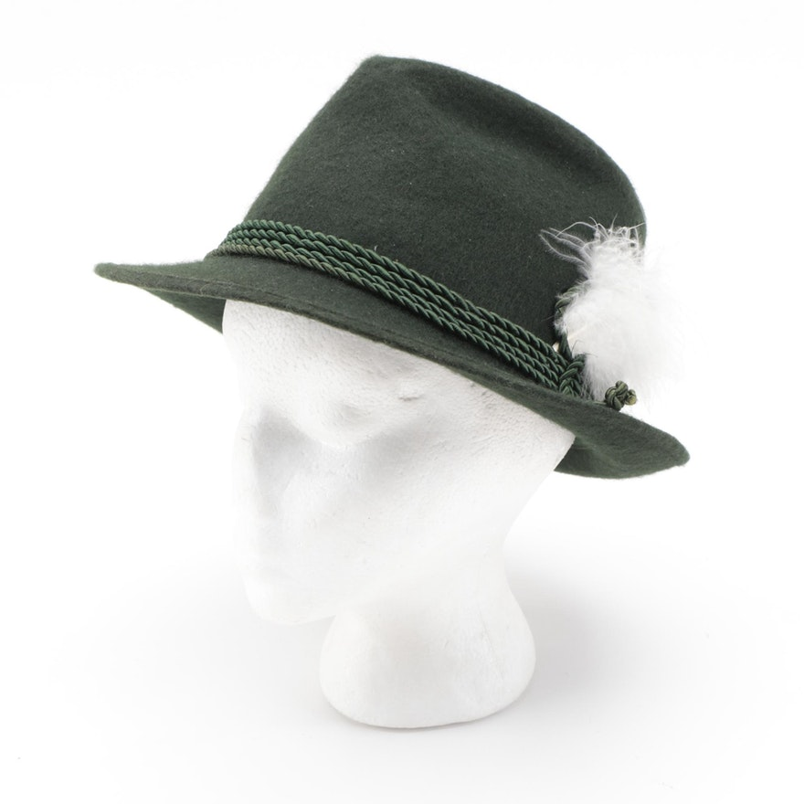 Men's Tyrolean Green Felt Hat with Rope and Feather Embellishment