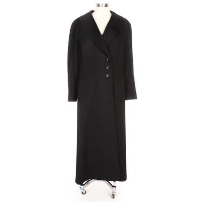 Paul Stuart Double-Breasted Black Wool and Cashmere Coat