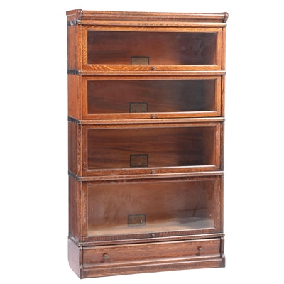 The Globe-Wernicke Co. Quartersawn Oak Four-Stack Barrister's Bookcase