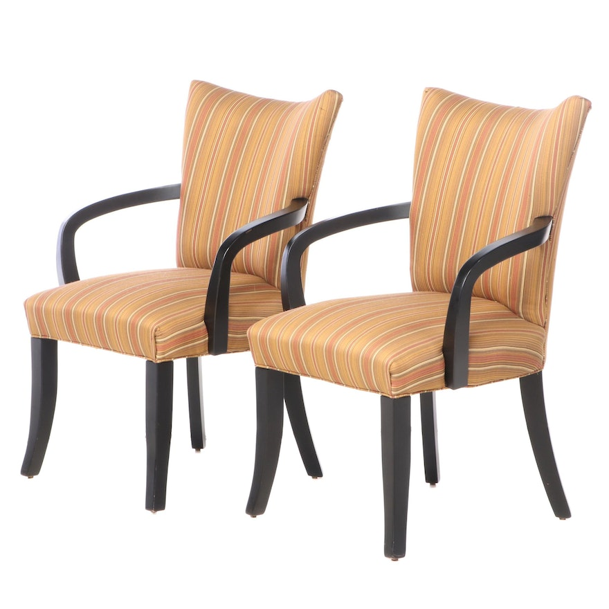 Pair of Fairfield Ebonized and Upholstered Armchairs