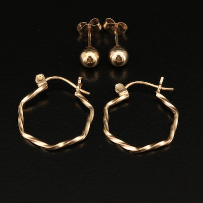 14K Hoop and Stud Earrings