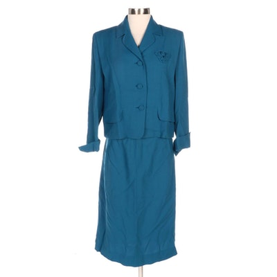 Friedmont Union-Made Blue Crepe Skirt Suit
