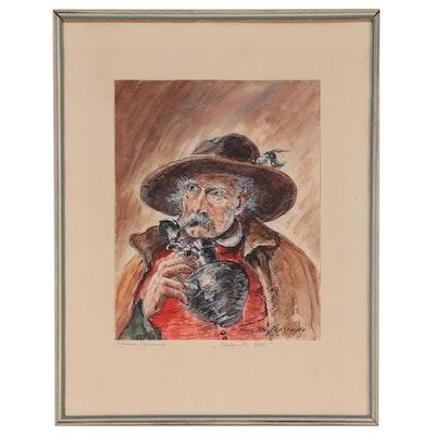 "Hans Reifferscheid Watercolor Painting ""Trinkender Alter,"" Mid-20th Century"