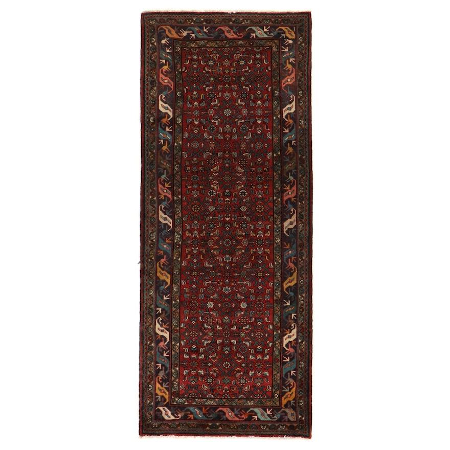 4'1 x 10'1 Hand-Knotted Persian Kurdish Herati Long Rug