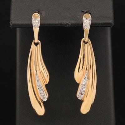 14K Diamond Graduated Scalloped Earrings