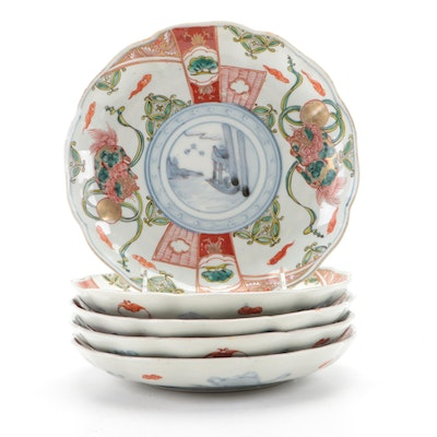 Chinese Porcelain Polychrome Plates with Luck and Happiness Symbols