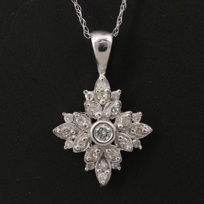 10K Diamond Flower Pendant with 14K Chain Necklace