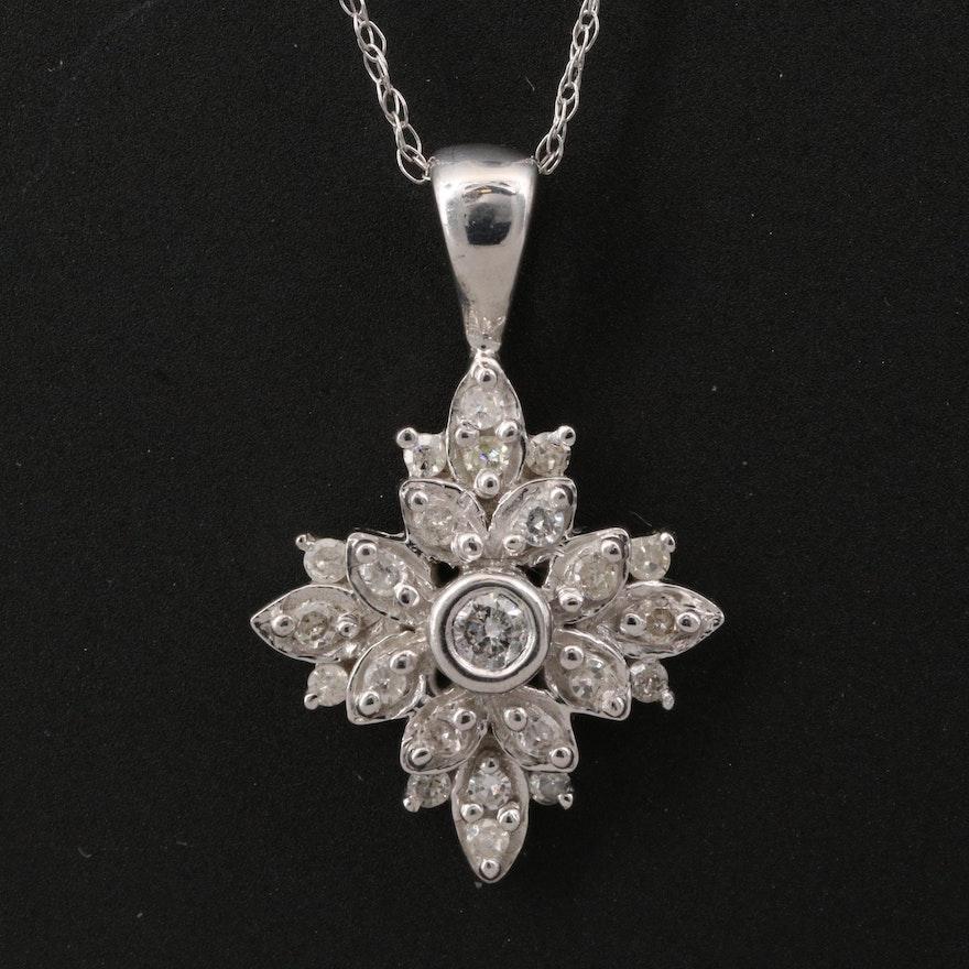 10K Diamond Flower Pendant with 14K Chain Necklace