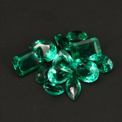 Loose Lab Grown Faceted Emeralds