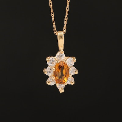 14K Citrine and Cubic Zirconia Pendant Necklace
