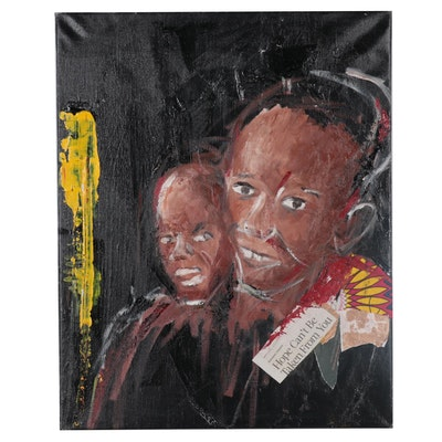 Stephen Aifegha Socio-Political Mixed Media Painting, 2020