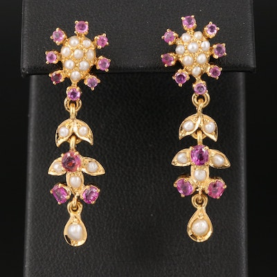 18K Ruby and Seed Pearl Foliate Earrings