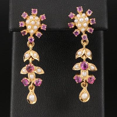 18K Ruby and Seed Pearl Foliate Earrings