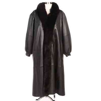 Black Leather Coat with Fox Fur Collar and Removable Sheared Muskrat Fur Lining