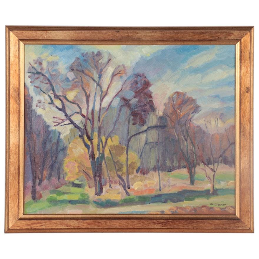 "C. Spanu Landscape Oil Painting ""Fall Foliage,"" Late 20th Century"