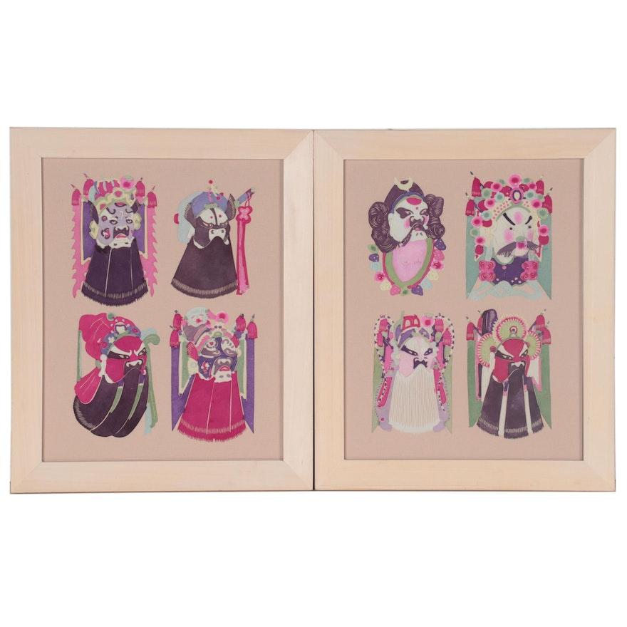 Chinese Style Hand-Painted Paper Cutouts of Opera Masks