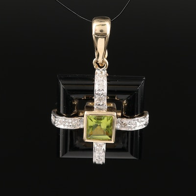 14K Peridot and Diamond Enhancer Pendant