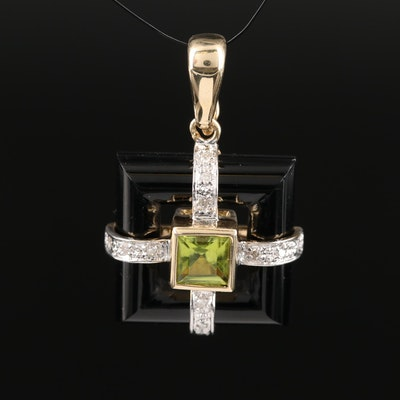 14K Peridot and Diamond Enhancer Pendant
