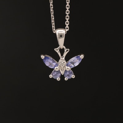 10K Tanzanite and Diamond Butterfly Pendant on Italian 14K Chain
