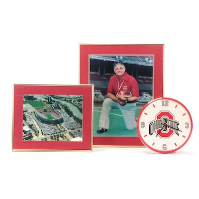 "Woody Hayes and ""The Horseshoe"" Framed Photo Prints, with OSU Wall Clock"