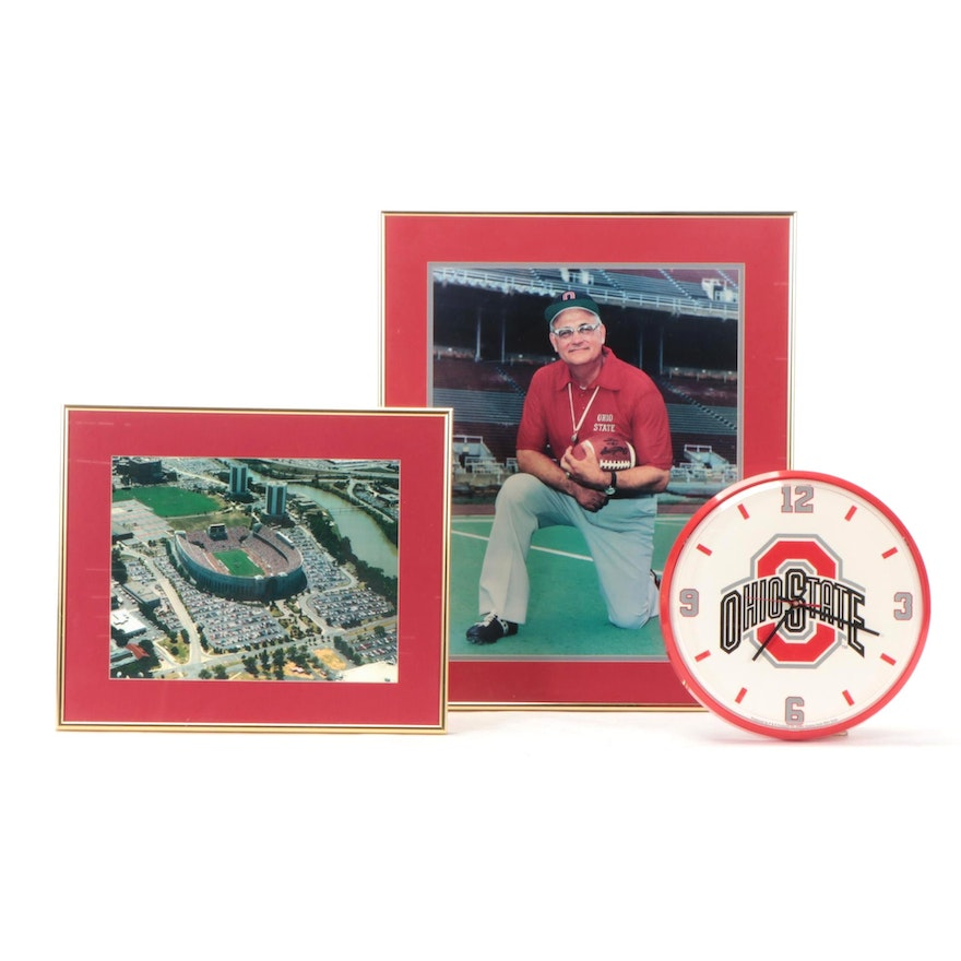 """Woody Hayes and """"The Horseshoe"""" Framed Photo Prints, with OSU Wall Clock"""