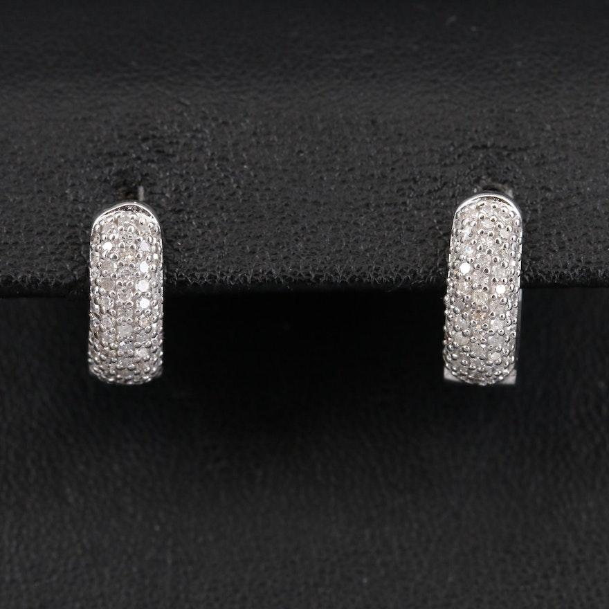 14K Pavé Diamond Huggie Earrings