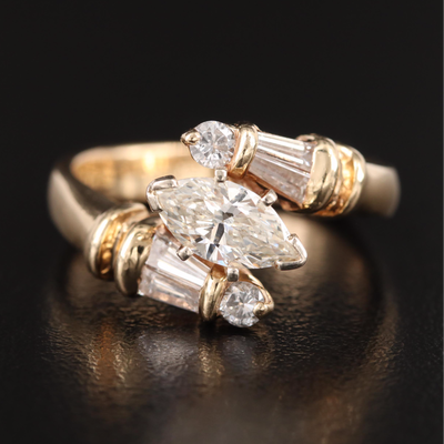14K 1.32 CTW Diamond Bypass Ring with Euro Shank