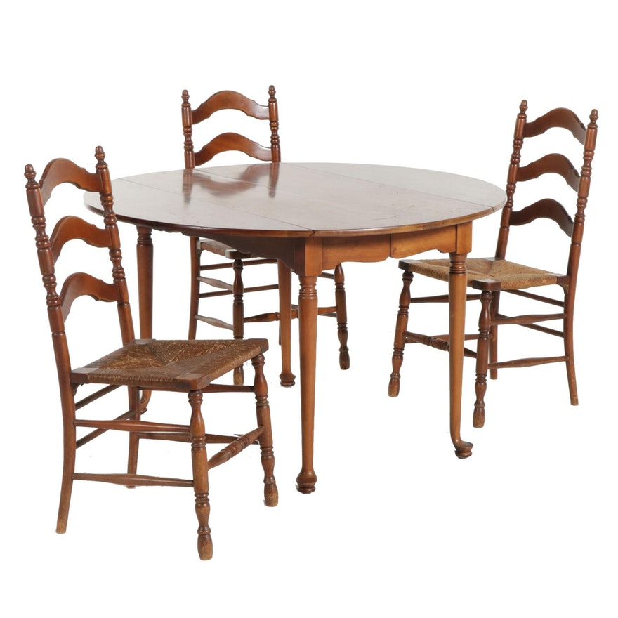 """Statton """"Old Towne"""" Cherry Dropleaf Table and Three Ladderback Chairs"""
