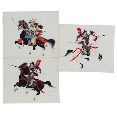 Japanese Gouache Paintings on Silk of Warriors
