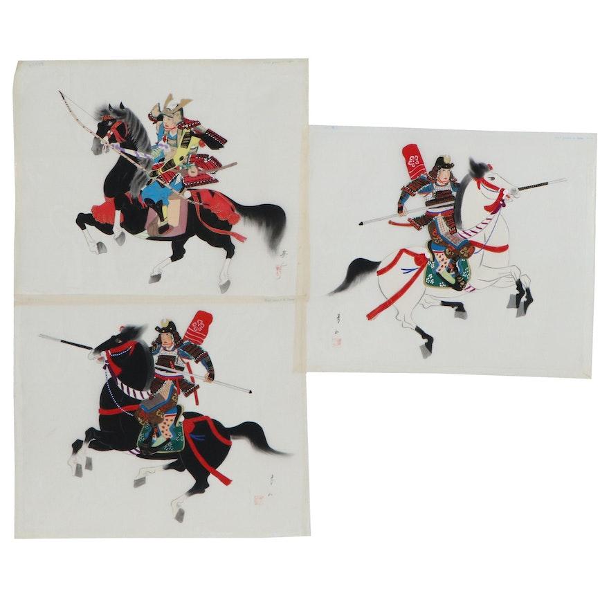 Japanese Gouache Paintings on Silk of Warriors