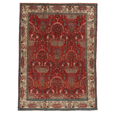 7'4 x 10'1 Hand-Knotted Northwest Persian Pictorial Area Rug
