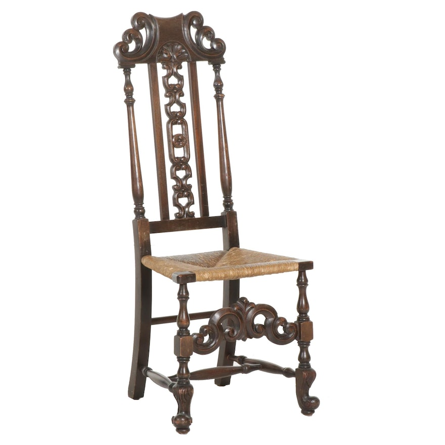 William and Mary Style Carved Walnut Rush-Seat Side Chair, Mid-20th Century