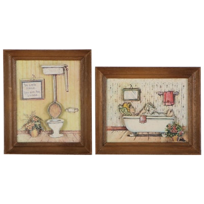 3-D Offset Lithographs of Bathroom Scenes, Late 20th Century
