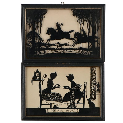 """Reverse Glass Silhouette Paintings """"The Chase"""" and """"So I Sez-Sez I"""""""