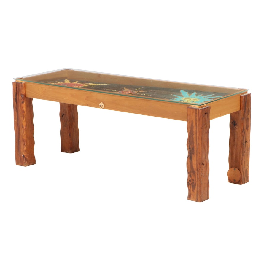 Kiva Designs Leather-Mounted, Painted, Carved, and Glass Top Coffee Table
