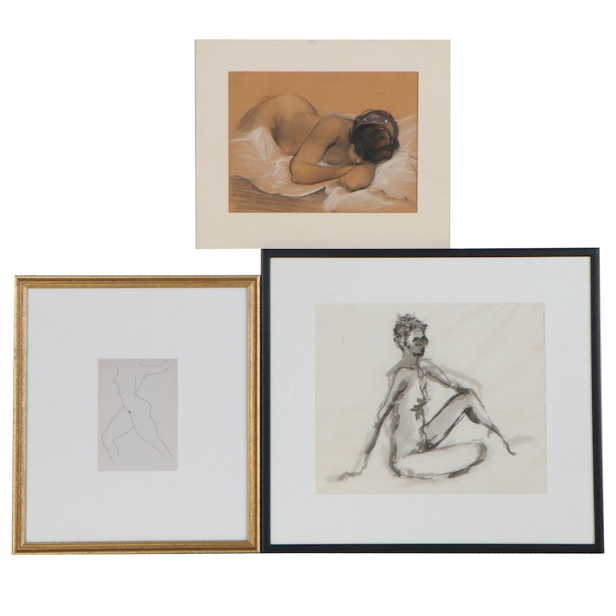 Abstract Figural Giclée, Mixed Media Drawing, and Watercolor Painting