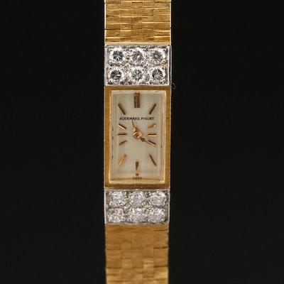 """1969 Audemars Piguet 18K Yellow Gold and Diamond """"Backwind"""" Wristwatch"""