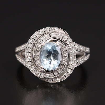 14K 1.26 CT Aquamarine and Diamond Swirl Ring