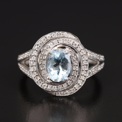 14K 1.26 CT Aquamarine and Diamond Swirl Ring