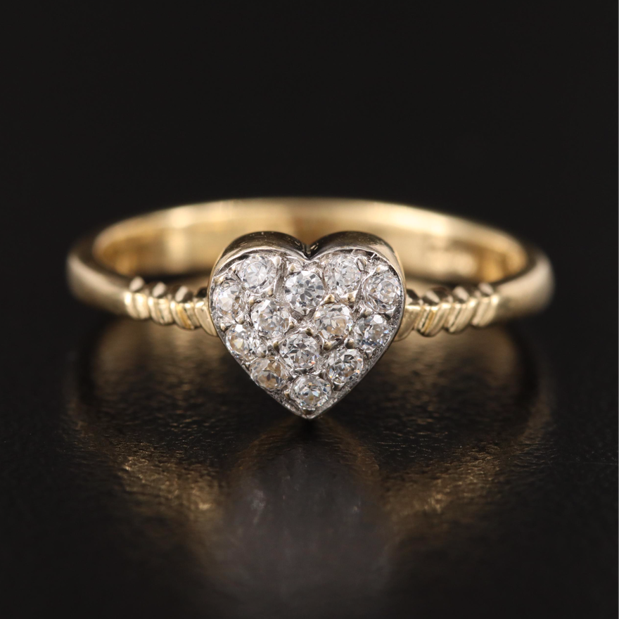 14K Cubic Zirconia Heart Ring