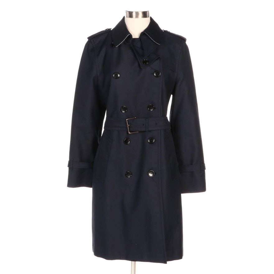 Coach Navy Double-Breasted Belted Twill Coat