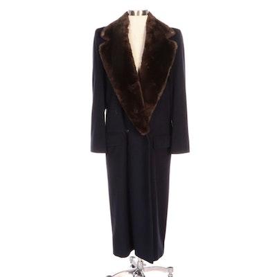 Perry Ellis Wool Coat with Sheared Beaver Fur Trim