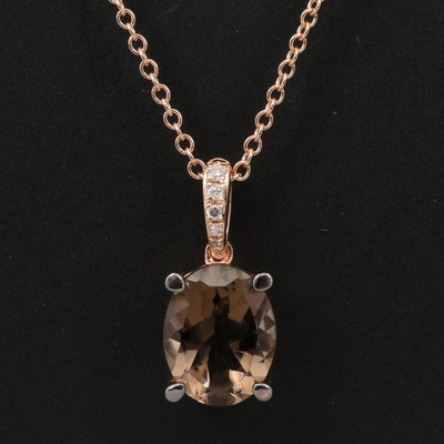 EFFY 14K Rose Gold Smoky Quartz and Diamond Pendant Necklace