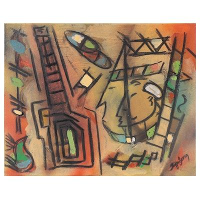 "Stefan Georg Mixed Media Painting ""Mardi Gras,"" 2021"