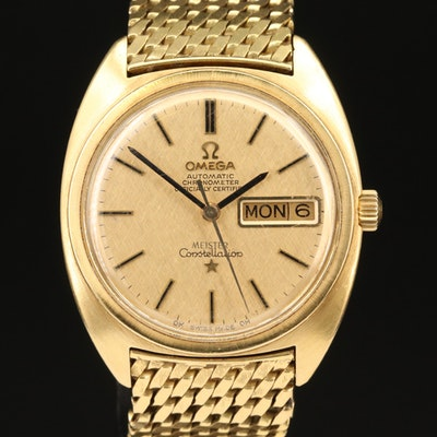 """1969 Omega Constellation """"C"""" Meister Dial 18K Gold Wristwatch"""